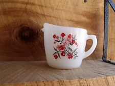 Sweet VTG Fire King Ovenware Creamer White Pink & Red Primrose Flowers Made USA