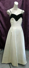 FAB! 40s EMMA DOMB White taffeta w/ blk velvet & sequins Wedding Prom FormalGown