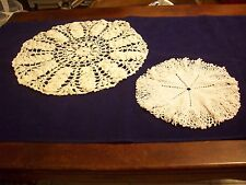 "Doilies Vintage Crocheted (2): 1-  Wh 16-1/2"" Round /1- Wh 10-1/2"" Round (#688)"
