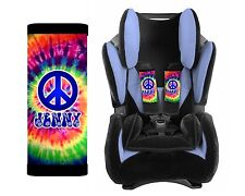 PERSONALIZED BABY TODDLER CAR SEAT STRAP COVERS TIE DYE HIPPY PEACE SIGN