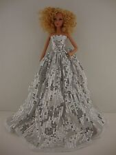 Set of 2 Amazing Silver Dresses Made to Fit Barbie Doll