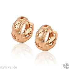 Charming Rose Gold!18K Rose Gold Plated Fashion Mat Pattern Huggie Hoop Earrings