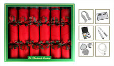 6 Hand Made Christmas Crackers Red Tartan Ultimate in Luxury Christmas Crackers