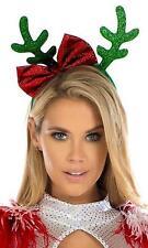 Reindeer Antler Bow Headband Glitter Velvet Christmas Holiday Costume 994824