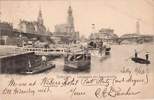 1903 Dresden Saxony Germany UDB Postcard —Landing of Steam Ships Dock Boats