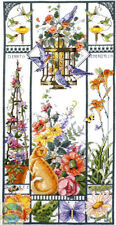 Cross Stitch Kit ~ Janlynn Classic Floral Summer Cat Sampler #023-0579