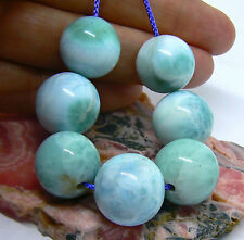 7 RARE TOP GRADE CARIBBEAN BLUE LARIMAR ROUND SPHERE BALL BEADS 15-16mm 188cts