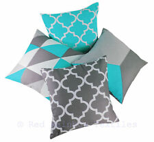 Collection of 4 Designs Blue & Grey Linen Geometric 18 Inch Cushion Covers