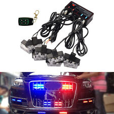 8x2 LED Red and Blue Car Police Strobe Flash Light Dash Emergency Warning Lights