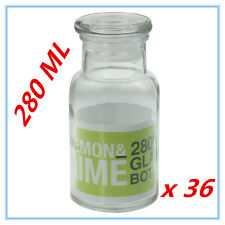 36 X SMALL SEALED GLASS BOTTLES 280ML W/H GLASS LID MILK WEDDING PARTY CANDY A