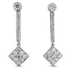 ANTIQUE ART DECO DESIGN 925 STERLING SILVER CZ EARRINGS,  #670