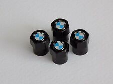 BMW BLACK ALLOY WHEEL TYRE VALVE DUST CAPS
