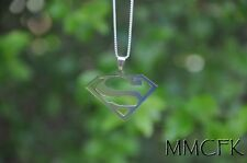 "Superman Symbol ""Man of Steel"" with 24 inches 925 Sterling Silver Chain Necklace"