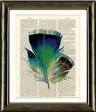 Old Antique Book page Art Print - Vintage Feather print 2 Dictionary Wall Art