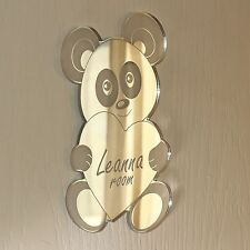 Panda Bear Heart Mirror Set Personalised Door Name Plaque Boy Girl Bed Room Sign