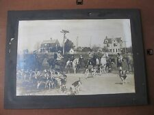 """HUGE antique photo cabinet card -FOX HUNTING SCENE HORSES BEAGLE DOGS - 20""""X13"""""""