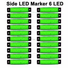 20X Green 12V DC 6 SMD LED Side Marker Rear Light for Truck Trailer Van Bus SUV
