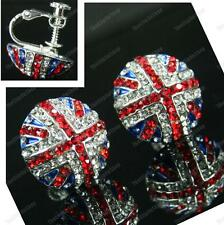 CLIP ON screw GB UNION JACK flag CRYSTAL EARRINGS rhinestone RED,BLUE silver plt