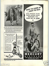 1938 PAPER AD Moto Scoot Motor Scooter Sport Solo Mercury Bicycles