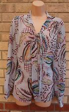 PRIMARK GREY LEAVES ABSTRACT PRINT BUTTONED TIE NECK BLOUSE T SHIRT TOP TUNIC 18