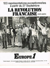 PUBLICITE  1974    EUROPE 1 radio   le rock-opéra LA REVOLUTION FRANCAISE à MOGA
