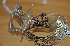 Venetian Silver Metal Mask Clear Diamontes Filigree Masquerade Halloween Party