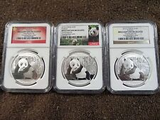 Lot of 3 2015 China Silver S10Y Panda - NGC BU - 3 Different and Unique Labels