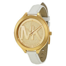 Michael Kors Slim Runway Champagne Dial White Leather Ladies Watch MK2389