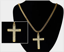 3D Iced Out CZ Bling Long Chain Necklace Chunky Jesus Cross Crucifix Pendant