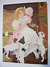 "Vintage Unique Oil Painting on Canvas of Girl, Puppy Dogs and Cat 18x24"" Signed"