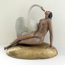 Lenci Art Deco  Porcelain Nude and Swan