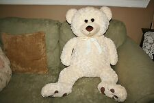 "43"" Off White Giant Teddy Bear Cuddly Stuffed Plush Plushie Snuggle Soft Lovey"