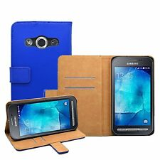 Wallet BLUE Leather Flip Case Cover Pouch For Samsung Galaxy Xcover 3 (+2 FILM)