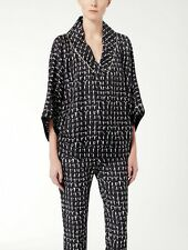 "NWT $695 MAX MARA Black Silk Twill Small Men Printed ""Gente"" Pajama Blouse Top 6"