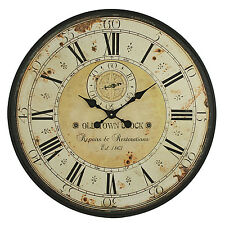"Vintage Wall Clock Rustic Antique Style Large 31.5"" Oversized Distressed Face"