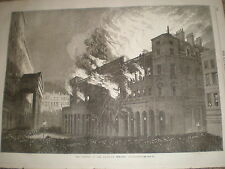 The Burning of Her Majesty's Theatre haymarket London 1867 old print