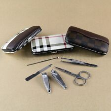 Gorgeous Men Manicure Grooming Set Kit Nail Clipper Leather Case Great Gift 6PCS