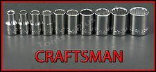 "CRAFTSMAN HAND TOOLS 10pc LOT 1/4"" Drive 12 PT SAE ratchet wrench socket set !"