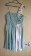 Fever London Designer Green and Cream Asymetrical Dress Size 14 /PARTY/WEDDING