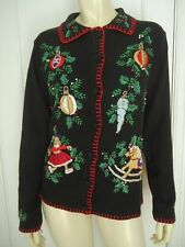 BP DESIGN Sweater S Ramie Cotton Embroidery Beads Christmas Cardigan UGLY