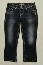 """Silver Jeans 28 Aiko Kick Flare Cropped Crop Capri Dark Indigo Stretch Denim 23"""""""