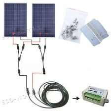2x100W 200W Watts Solar Panle Kit fit for 12V Battery Home Camping Power Supply