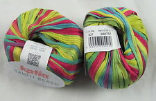 25% OFF! 50g Katia TAHITI BEACH Colorful Spring Summer Cotton Ribbon Yarn #307