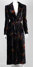 EMANUEL UNGARO Vintage Black Floral Print Velvet Belted Coat 8