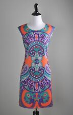 ARYEH Stretch Vibrant Medallion Mirror Print Shift Casual Dress Size Small