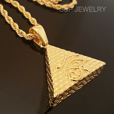 "Men Hip Hop 14k Gold Plated Eye of Horus Egypt Pyramid Pendant & 30"" Rope Chain"