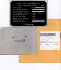 US Army HMMWV M998 Data Plate Typenschild Identification Plate Hummer