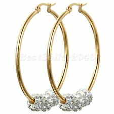 Three Bling Rhinestones Womens Gold Tone Large Hoop Stainless Steel Earring Gift