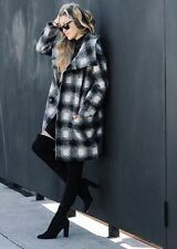 $348 New  Women's Black white Plaid Double-breasted Coat jacket sz S small wool