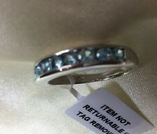1.5 Ct, Cambodian, Blue Zircon Ring, Band, Platinum Over Sterling Silver, Size S